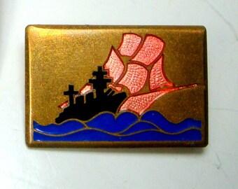 Nautical Battleship Pin, Side BY Side w Ancient War Sailing Ship Brooch, High Seas Military, Enamel on Brass