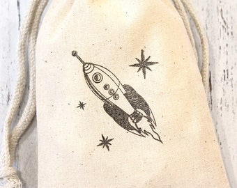 Space Rocket Party Favor bags -  set of 10 - 4x6 muslin bags - goodie bags, thank you, boys birthday