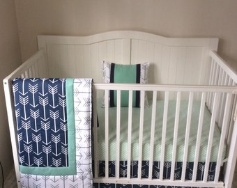Crib Bedding Set Gray White Navy Blue By Butterbeansboutique