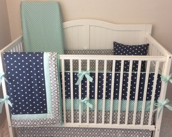 Baby Boy Crib Bedding Set Gray Navy Mint and Gray Fast Shipping