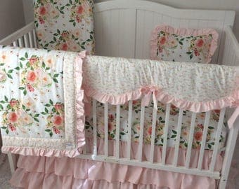 Girl Baby Bedding Crib Set Peach Coral Blush Pink Watercolor Floral Bumperless