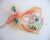 Winged Cupcake Heart Deluxe Collage Art Gift Tag~valentine gift tag~apricot~gold~green~arty hang tags~gift bag SWAG