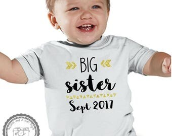 Big Sister Announcement Infant Toddler Size- Pregnancy Announcement Humor- Big Sister Big Brother Shirt- kids Sibling Crew Neck Tshirt- #074
