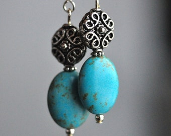 Turquoise Oval Drop Earrings with Antique Silver Plate Celtic Lace, Long Turquoise Howlite Stone Dangle Earrings, Southwest meets Ireland
