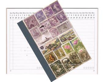 Travel Journal, Upcycled Notebook Planner | Heather Hills Highland Landscape | Bohemian Travel Gift | Vintage Postage Stamp Art, Eco Collage
