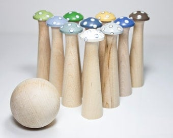 Mushroom Bowling Wooden Children's Toy - Ocean - IN STOCK - Toadstool Skittles Game