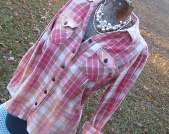 Distressed plaid flannel shirt - bleached dipped splattered unique - vintage worn look - Size S (female) (#S46)
