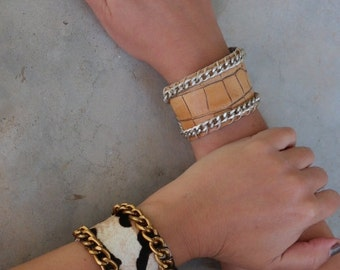 Boho Minimal Leather Bracelet. Leather Cuff with Chain. Statement Wide Cuff Leather Bracelet. Unique Gift for Women. Leather Jewelry