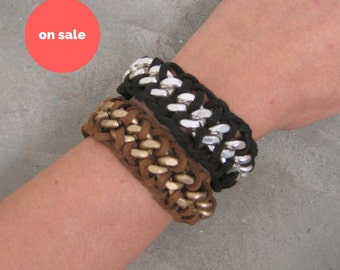 SALE Chain and Suede Braided Bracelet. Stackable Leather Bracelets for Women. Gift for Her. Boho Hippie Bracelets. Womens Unique Gift