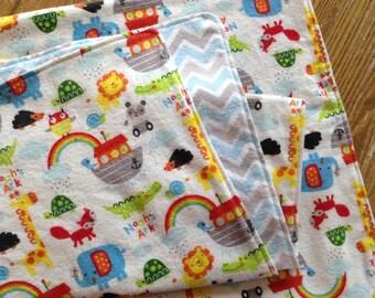 40 inch Square Double Layer Flannel Swaddler Blanket, Noah's Ark, Chevron