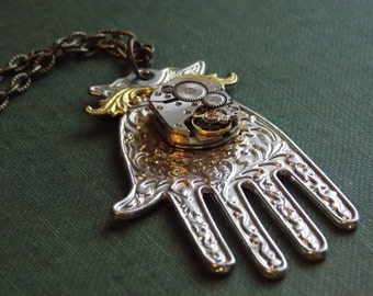 Steampunk Necklace Hamsa Hand Watch Movement Ornate Silver Tone Jewelry