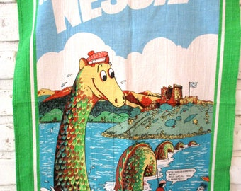 Vintage Tea Towel Nessie Loch Ness Monster Linen Dish Cloth Hand Printed 100% Cotton Designed in Scotland by Innes & Cromb Souvenir