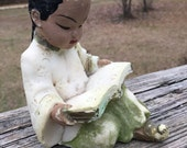 Vintage Asian Boy Reading--Oriental Boy Chalkware--Plaster--Mid Century--Shabby Cottage