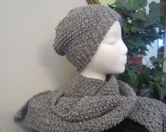 Hand Knit Grey Hat Beanie Slouchy With Matching Long Scarf