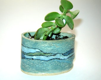 Succulent Planter - Cactus Pot - Turquoise Utensil Holder - Business Card Storage - Ocean Colors - Indoor Planter - Beach Decor