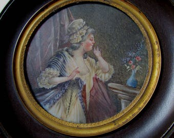 Antique French Miniature Painting, Lady Receiving Flowers, Watercolor