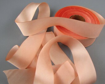 "1"" WEDDING SILK Satin  RIBBON Peach Blossom Hanah  3 yd length"