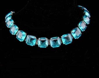 Art deco bracelet / vintage sterling link /  Vintage Aquamarine glass / open back bracelet / original safety chain