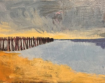 "November Beach Walk - Original Acrylic Oil Encaustic Landscape Painting - 12""x 9"""