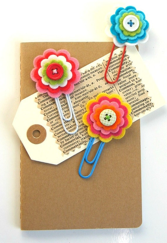 Pretty Felt Flower Daily Planner Clips / Handmade Flower ...