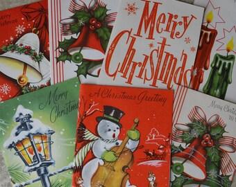 7 Vintage Unused Christmas Greeting Cards Snowman Bells