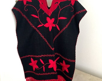 Black Wool Poncho Hand Embroidered Red Velveteen Inset Vintage