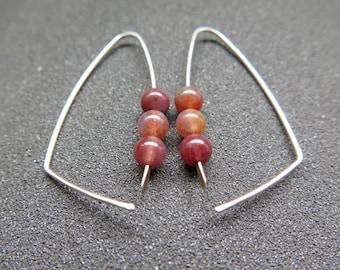 agate earrings. open sterling silver hoops. made in Canada