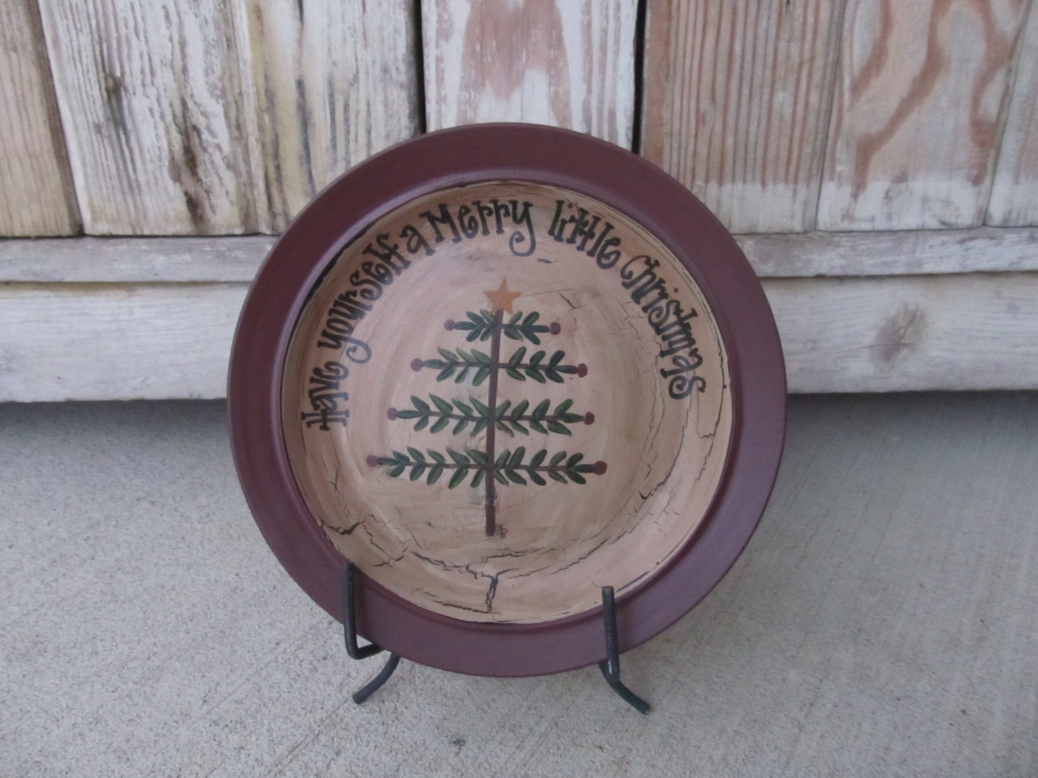 Primitive Christmas Feather Tree Hand Painted Decorative Plate
