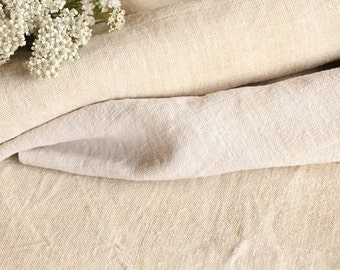 73 : antique handloomed 4.37yards french 리넨 two-toned upholstering curtain projects wedding Natural Creamy