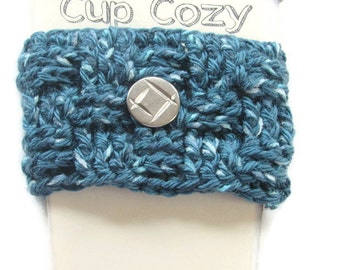 Ready To Ship - Dark Teal Blue Coffee Cup Cozy - Crocheted Basketweave Cup Sleeve - Crocheted Cup Warmer With Silver Button