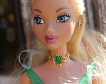 "Fancy Grenn & Gold Doll Jewelry Set Necklace Choker  fits 11 1/2 - 12"" 1/6th Scale Fashion Dolls"