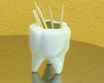 Vintage Bone China Toothpick Holder Shaped Like A...Tooth great dentis gift tooth teeth medical