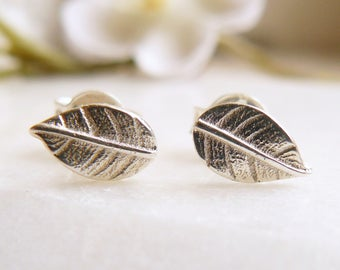 Sterling silver earrings, leaf studs, FREE UK SHIPPING, tiny silver leaf earrings