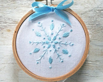 Embroidery Kit Christmas Embroidery Pattern kit Snowflakes Prairie Garden aqua periwinkle lilac needle book gift bag jewelry pouch  hanukkah