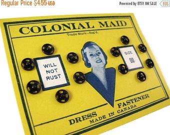 ON SALE Vintage Black Snap Fasteners on Original Card - Colonial Maid