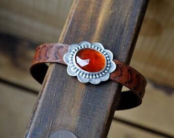 Sterling Silver Garnet Bracelet, Leather Cuff Bracelet, Oxidised Silver Button Leather Wrap Bracelet
