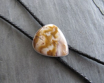 Unisex Bolo Tie of Petrified Wood, Sterling Silver, and Braided Leather