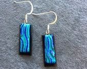 Turquoise and Black Dichroic Glass Earrings