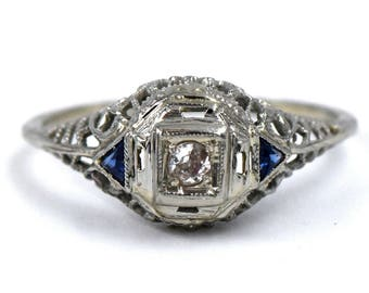 Art Deco Ring, Diamond and sapphire Ring Filigree Engagement Ring, 1920s Diamond Ring Size 6.5  14K White Gold Antique Ring