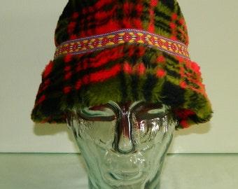Bavarian Tyrolean Faux Fur Plaid Hat Crusher Winter Alpine Beer Festival Hat Men's German Octoberfest Hat