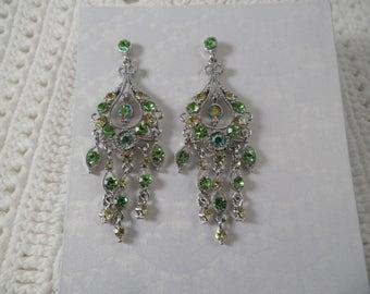 Sparkling Green Crystals Rhinestones Chandelier Silver Tone Pierced Earrings