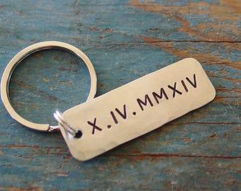 Roman Numeral Keychain, Anniversary Gift for Men, Wedding Day Gift, Hand Stamped, Boyfriend Anniversary,Sobriety Gift