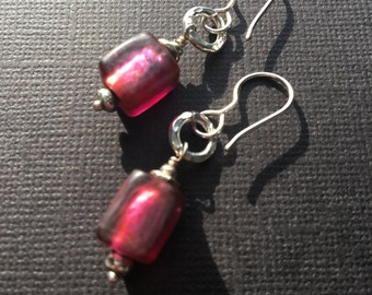 Raspberry Silver Lined Glass- Bali Silver Earrings- One of a Kind- Valentines Day Earrings