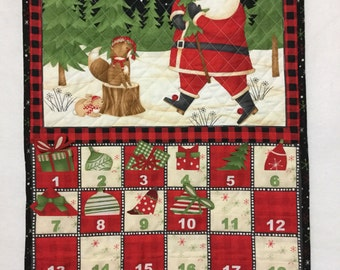 Advent Calendar Quilted, Woodland Advent Calendar, Santa Advent Calendar Wall Hanging, Christmas Countdown Calendar