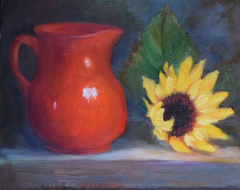 Still Life Art,Red And Yellow Painting,Original Oil On Canvas By Cheri Wollenberg