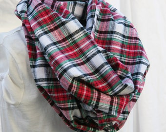 Red-Black-Green-Grey and White Tartan Plaid Cotton Flannel Infinity Scarf -Christmas Plaid Check