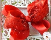 WINTER SALE---Large Boutique 6 Loop Hair Bow Clip---RED---Tinsel Fringe Bow Collection