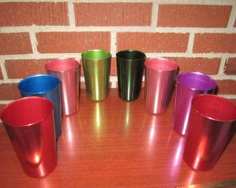 Vintage Mid Century Modern Outstanding Set of 8 Colored Aluminum Bascal Italian UNUSED Drinking Glasses