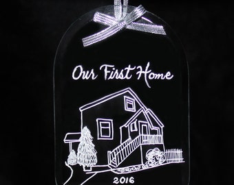 New Home Ornament, Personalized, Custom Engraved Your Home