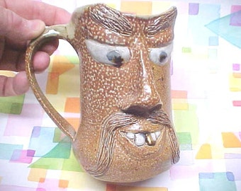 NC Pottery Ugly Jug Funny FACE, Large Clay Mug, Orange Peel Salt Glaze Texture, 'Fu Manchu' Mustache, Gold Veneer Tooth, Vintage Pottery